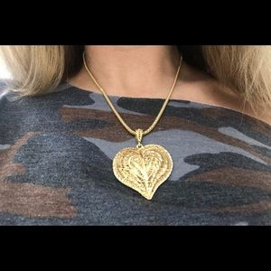 14K Gold XL Filagree Puffed HEART Bead Rope Chain
